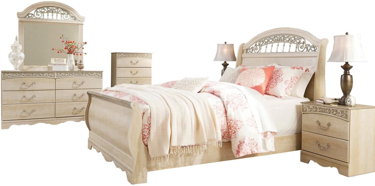 Katia Cream Sleigh Bedroom Set Cb Furniture