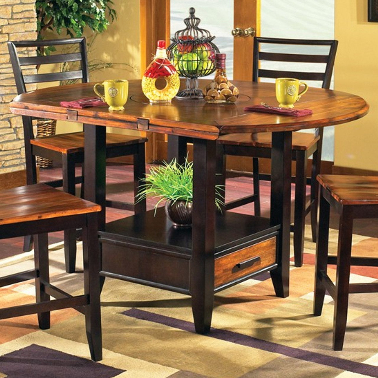 Denver 9 Piece Counter Height Set with Lazy Susan