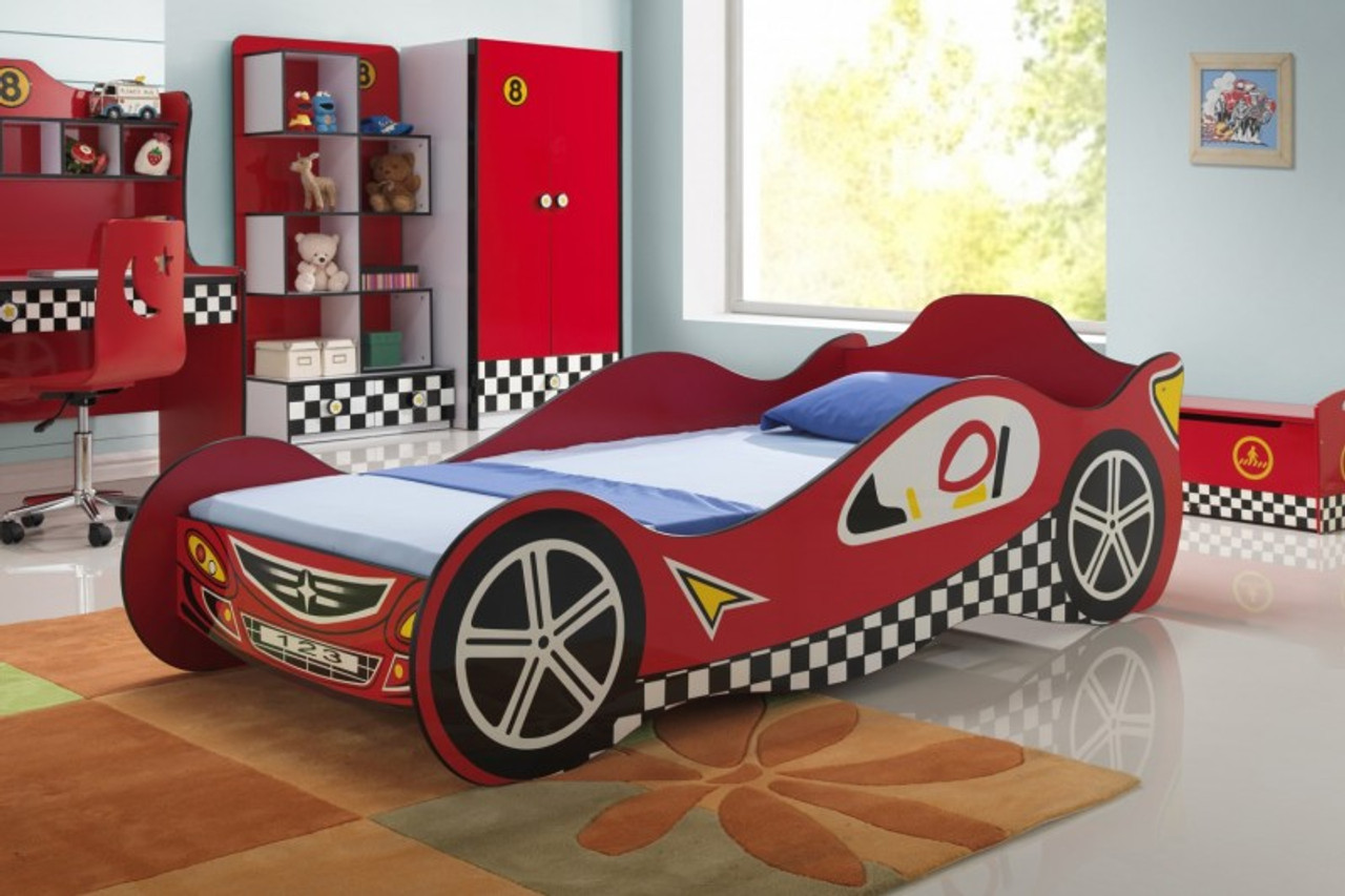 Colin Twin Red Race Car Bed Cb Furniture