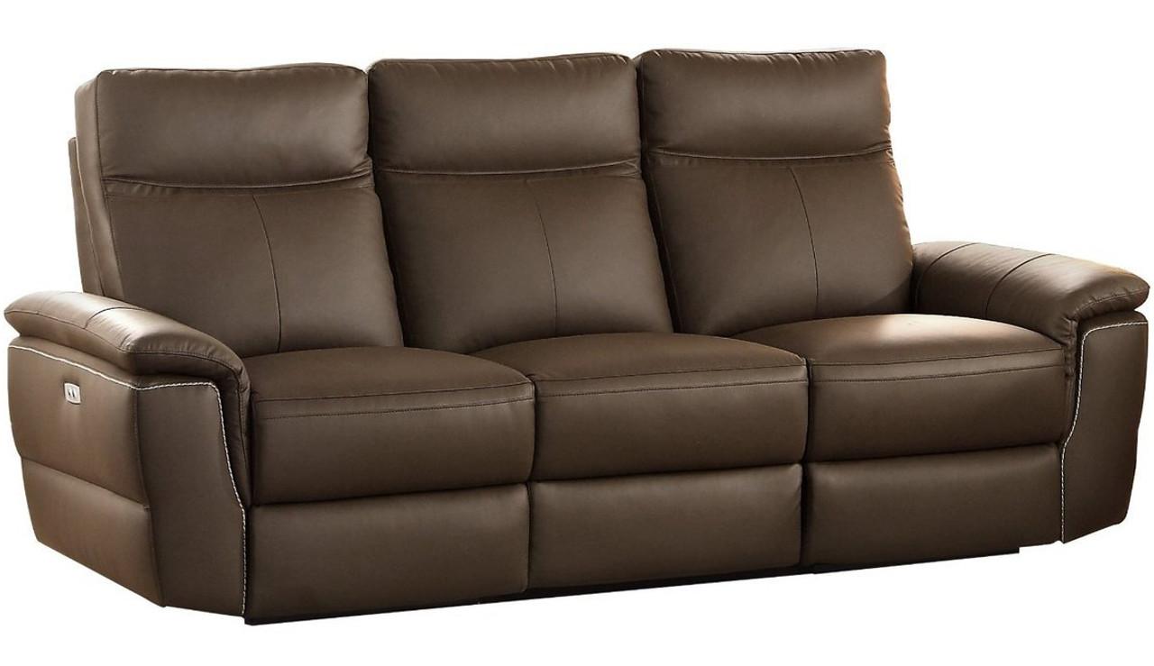 Maxy Raisin Tone Top Grain Leather Double Powered Reclining Sofa