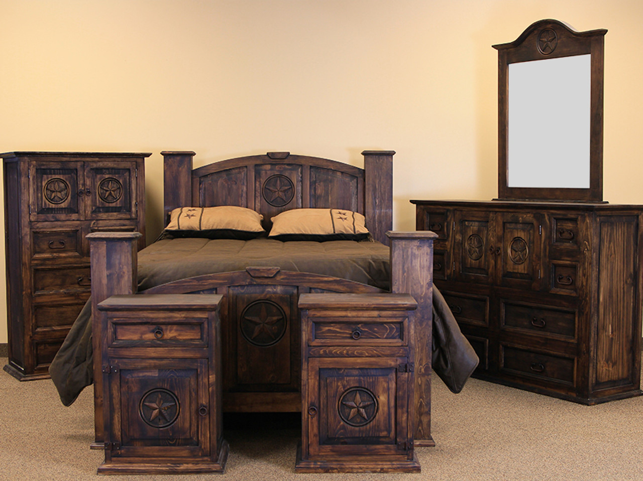 Riggins Dark Brown Bedroom Set