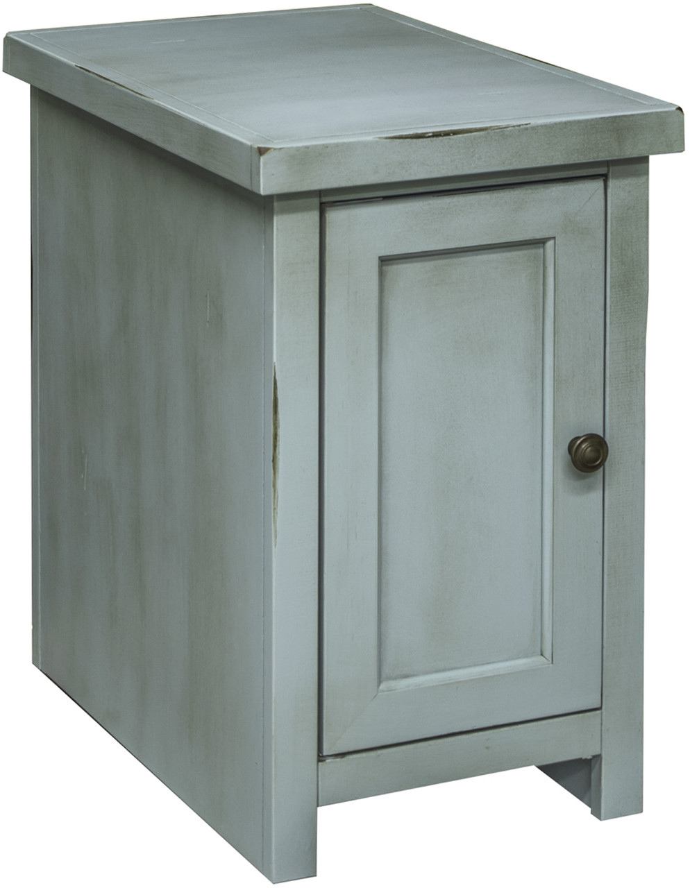 Villa Rustic Blue Chair Side Table With Door Cb Furniture
