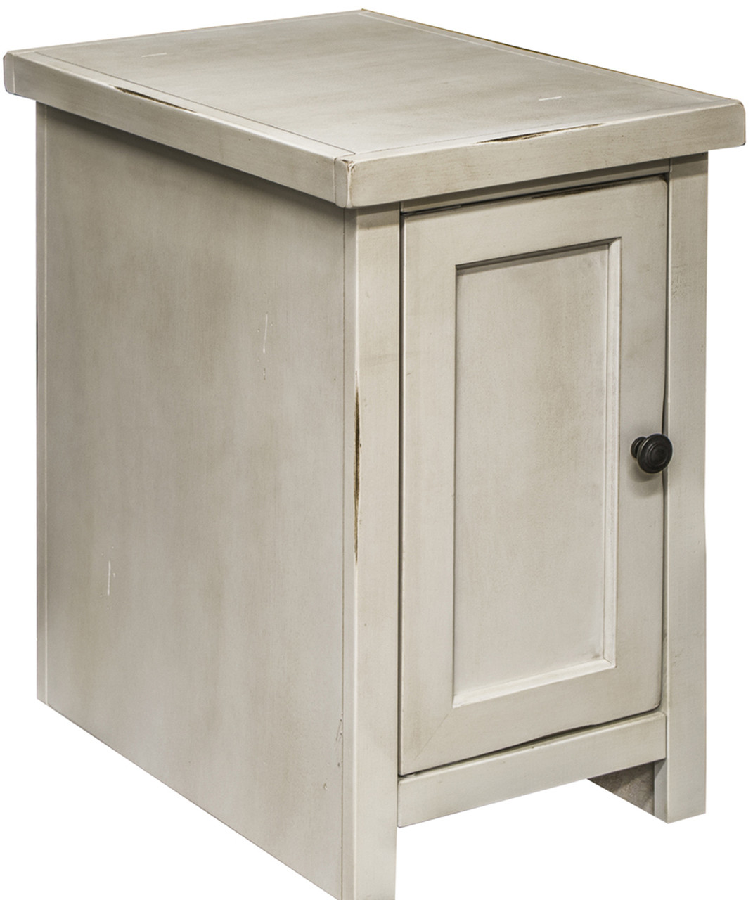 Villa Rustic White Chair Side Table With Door Cb Furniture