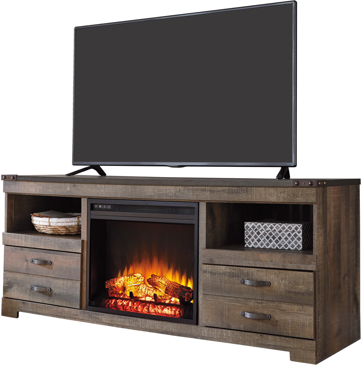 Benni Warm Rustic Tv Stand With Fireplace Cb Furniture