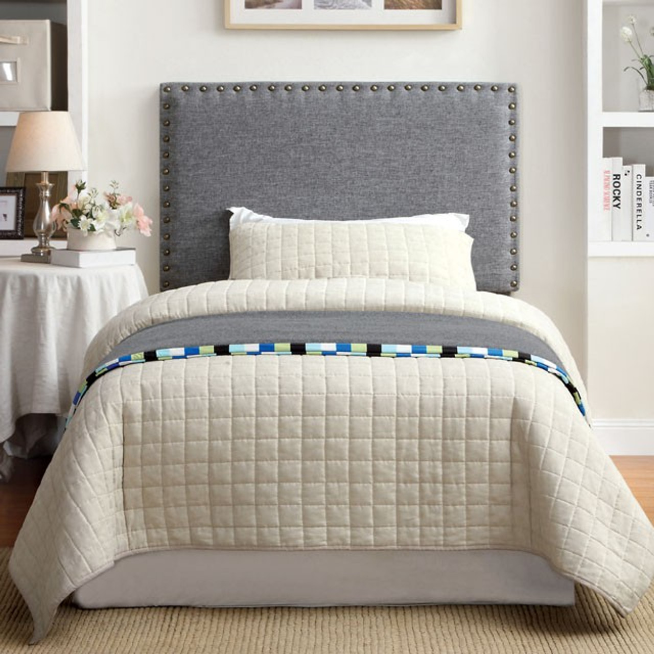 Abner Gray Twin Fabric Headboard Cb Furniture