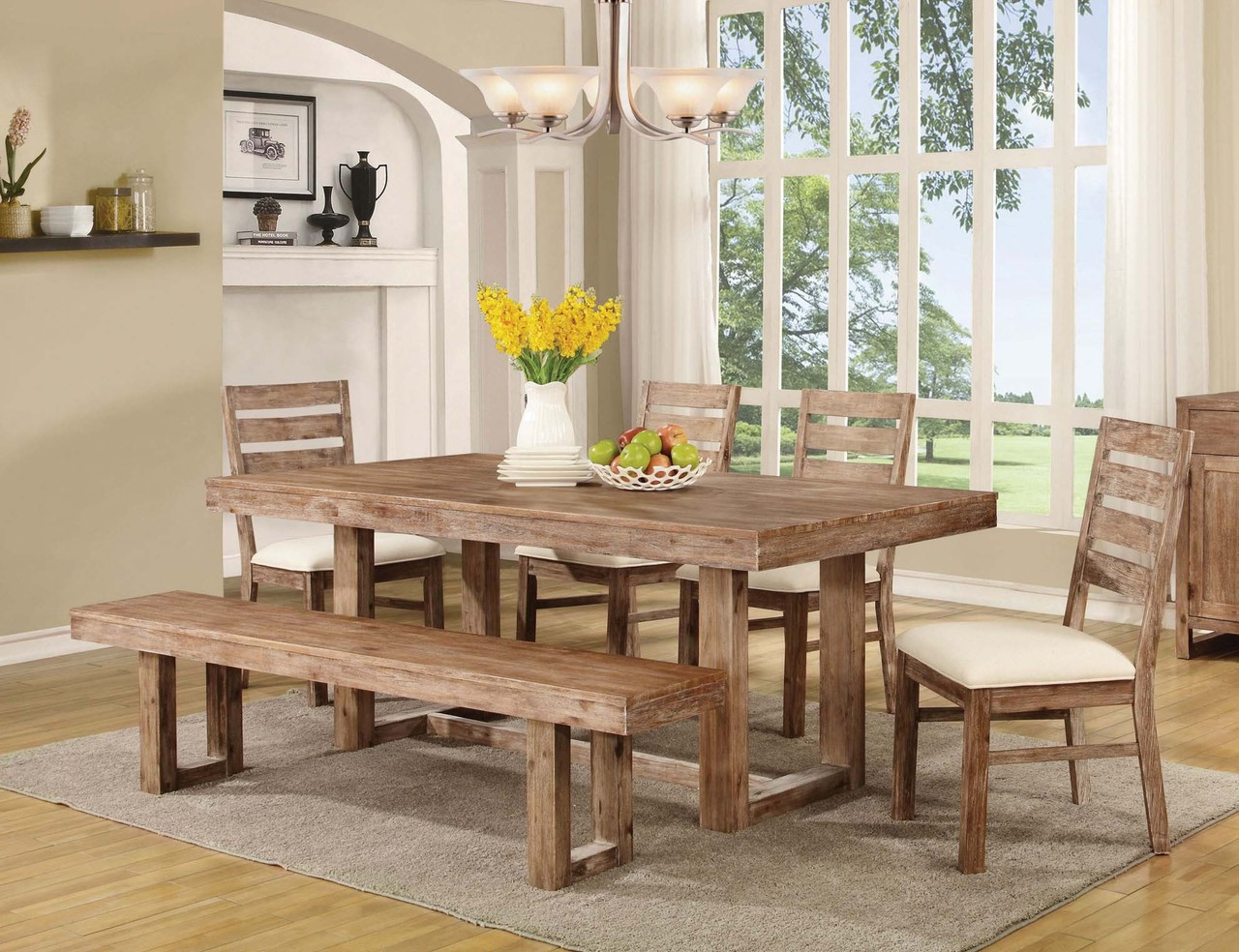 Grainger Weathered 6 Pc Dining Set - CB Furniture on granite dining table with bench, kitchen bench style tables, pub table with bench, kitchen dinette sets, kitchen table bench booth, kitchen table set rustic, kitchen bench set furniture, kitchen chairs with bench, small dining table with bench, kitchen table plans, kitchen bench table seat set, oval table set with bench, kitchen corner bench, drop leaf table with bench, kitchen table and chairs sets,