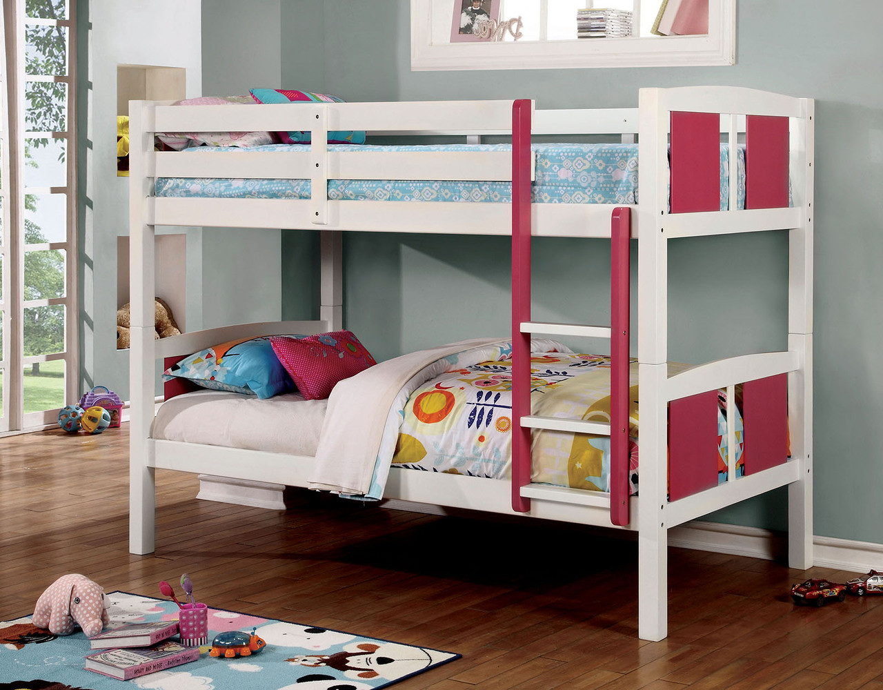 Picture of: Infinity Pink White Twin Twin Bunk Bed Cb Furniture