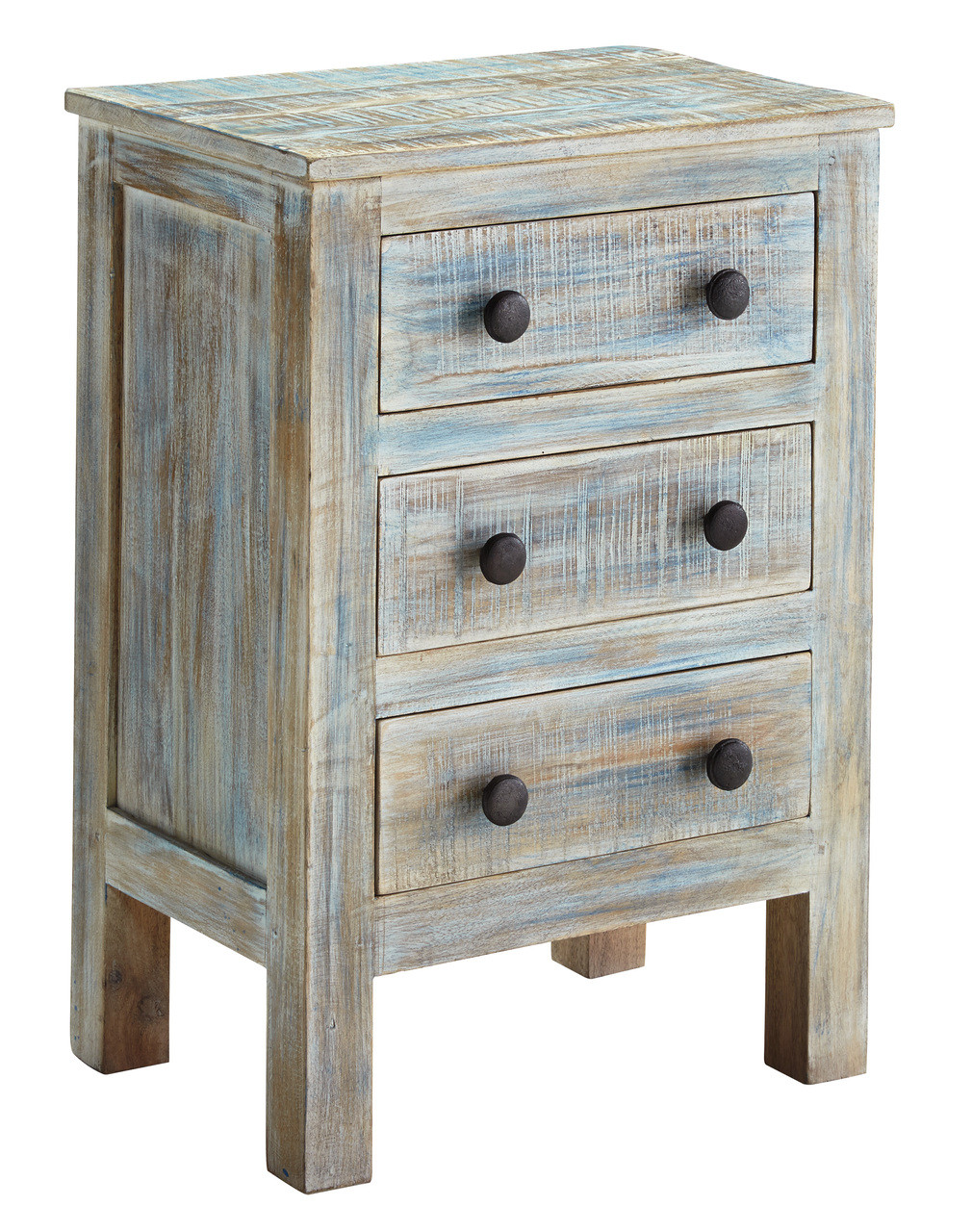 Woodrich Distressed Multi Color 3 Drawer Nightstand Cb Furniture