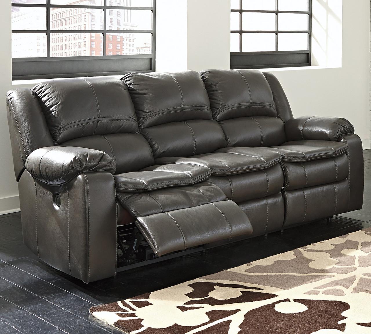 Wexford Grey Leather Reclining Sofa