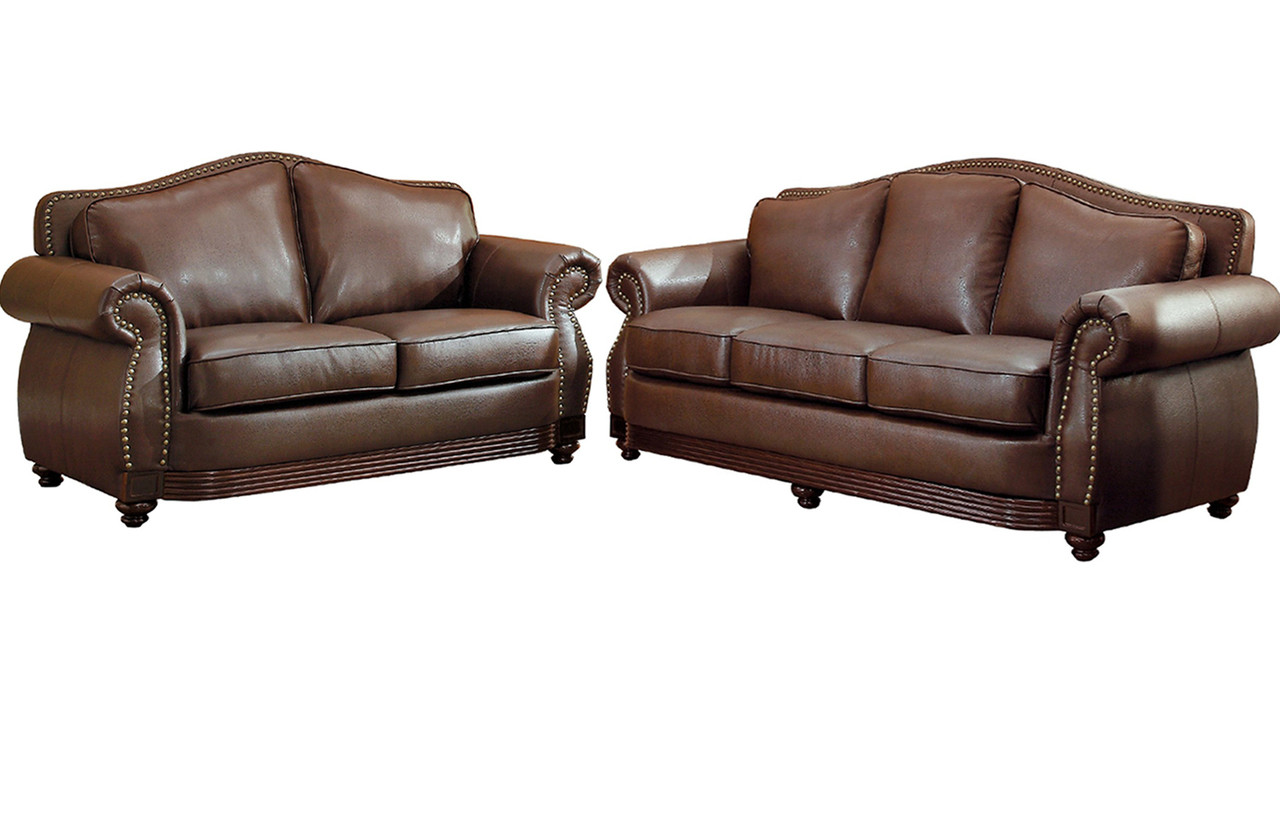 Butch Brown Bonded Leather Sofa & Loveseat