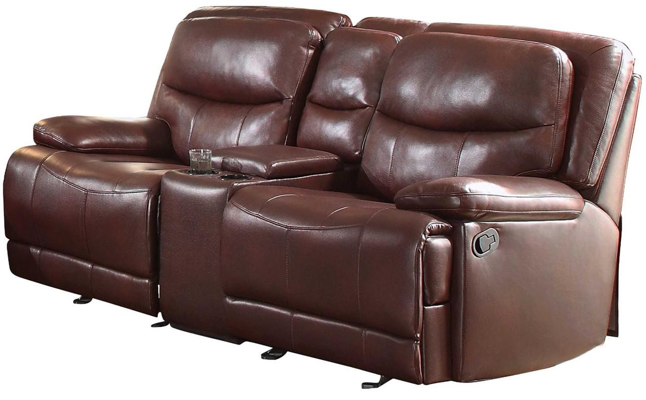 Miraculous Elliott Burgundy Breathable Faux Leather Glider Reclining Loveseat Inzonedesignstudio Interior Chair Design Inzonedesignstudiocom