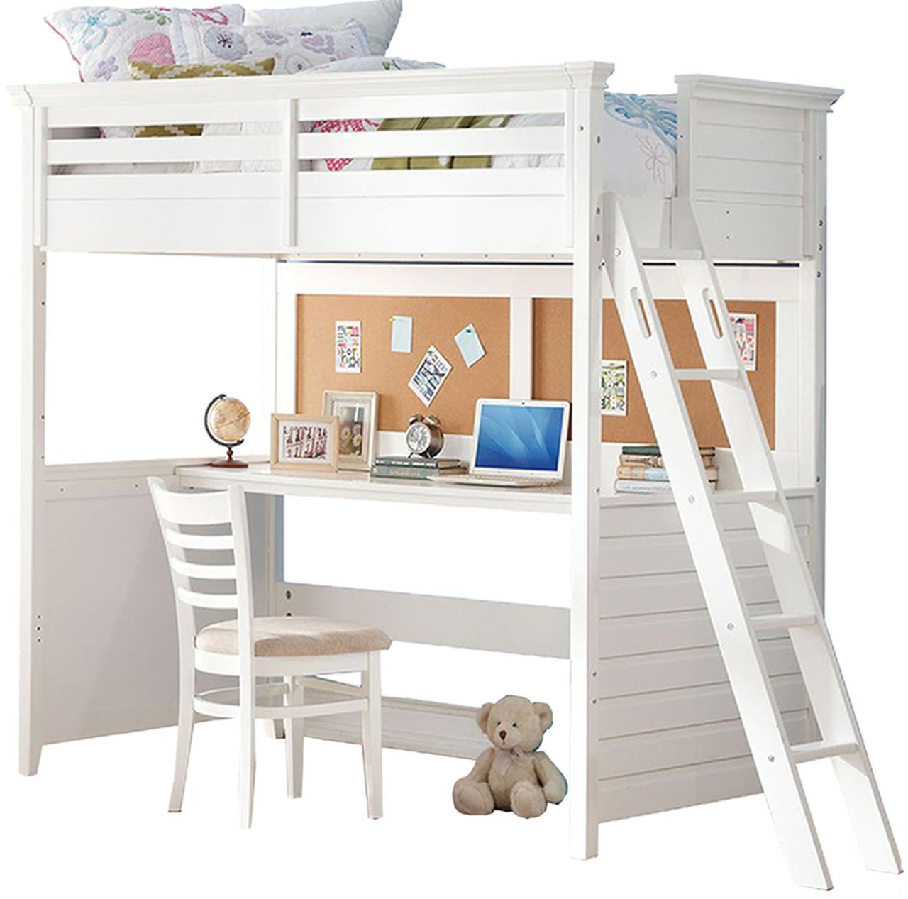 Brenda White Twin Loft Bed With Built In Desk Cb Furniture