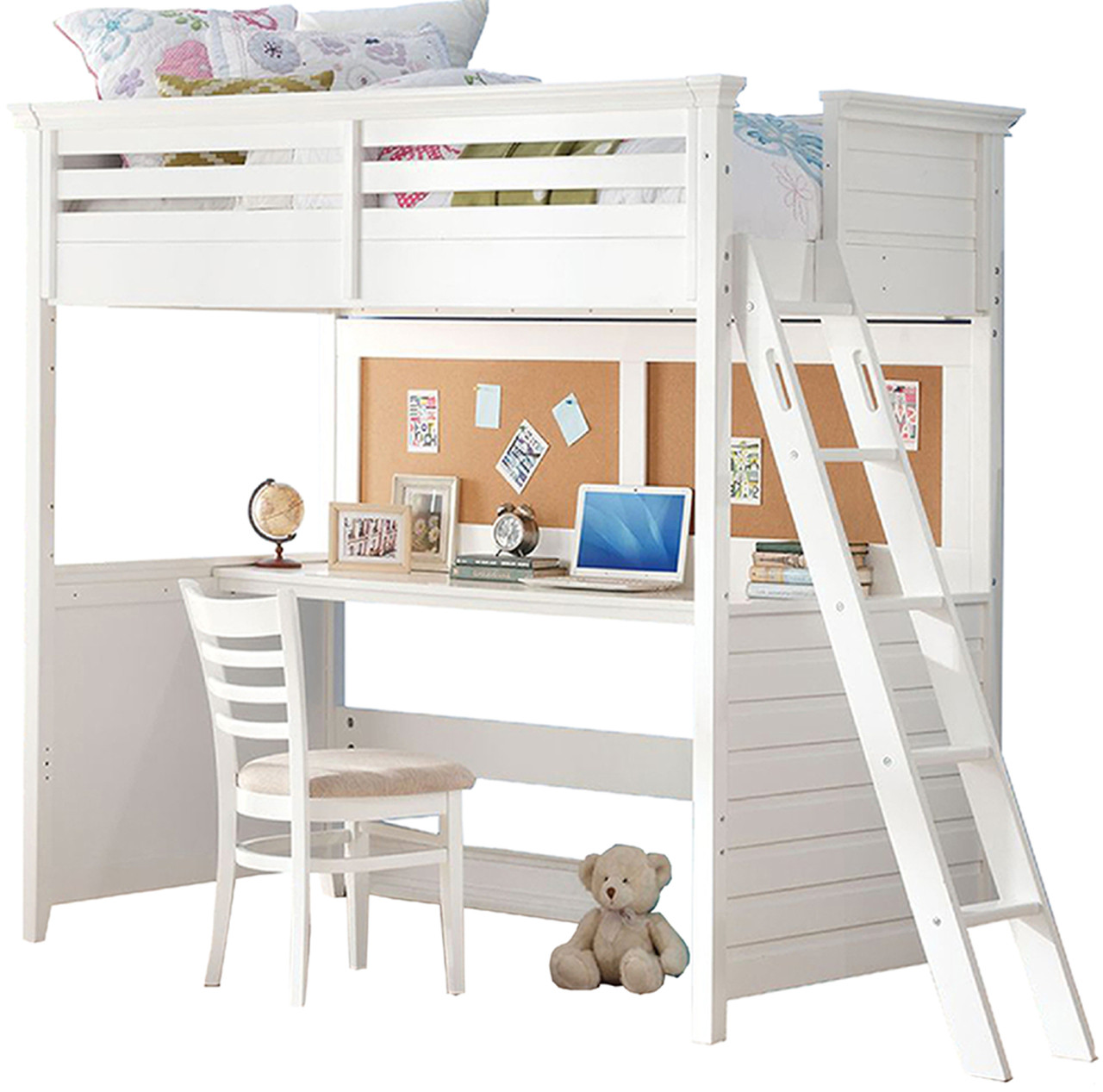 Picture of: Brenda White Twin Loft Bed With Built In Desk Cb Furniture