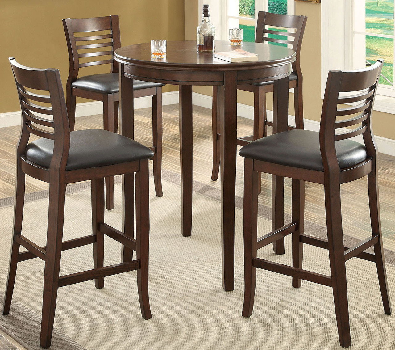 5 Piece Counter Height Dining Set Warm Cherry Finish