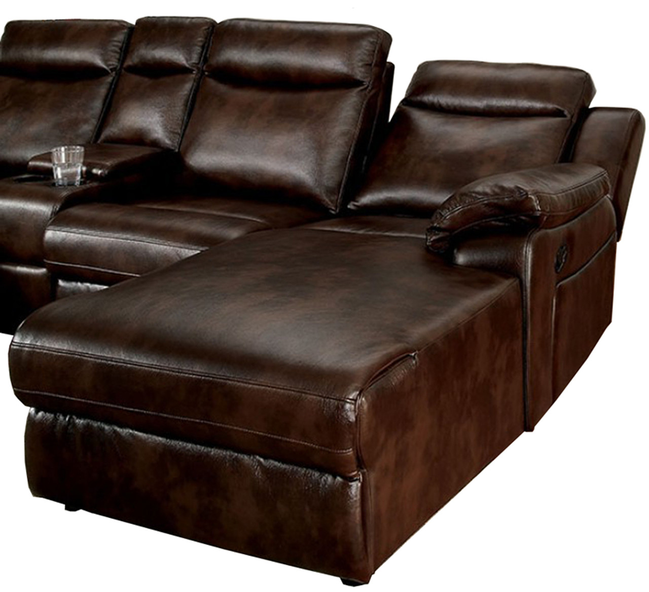 Super Bison Brown Leatherette Sectional With Console Theyellowbook Wood Chair Design Ideas Theyellowbookinfo