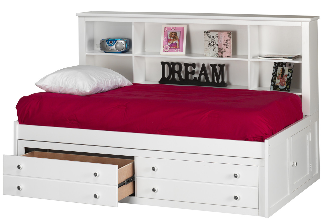 Jaime White Bookcase Daybed With Drawers