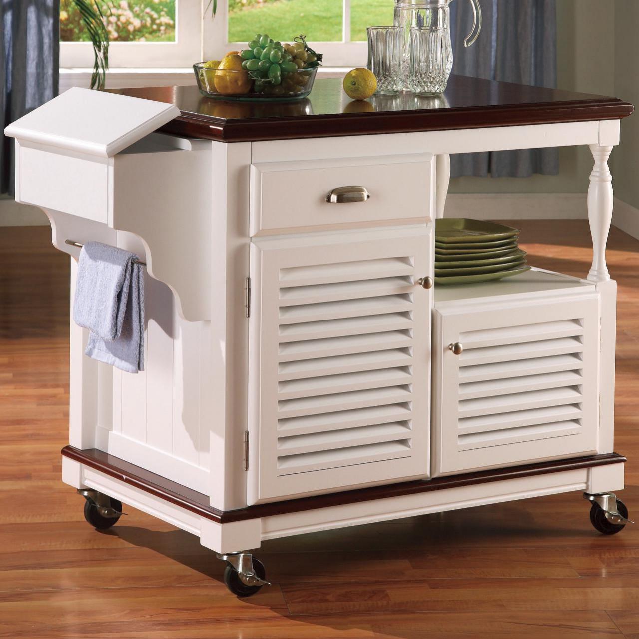 Cherry N White Kitchen Island Cart Cb Furniture