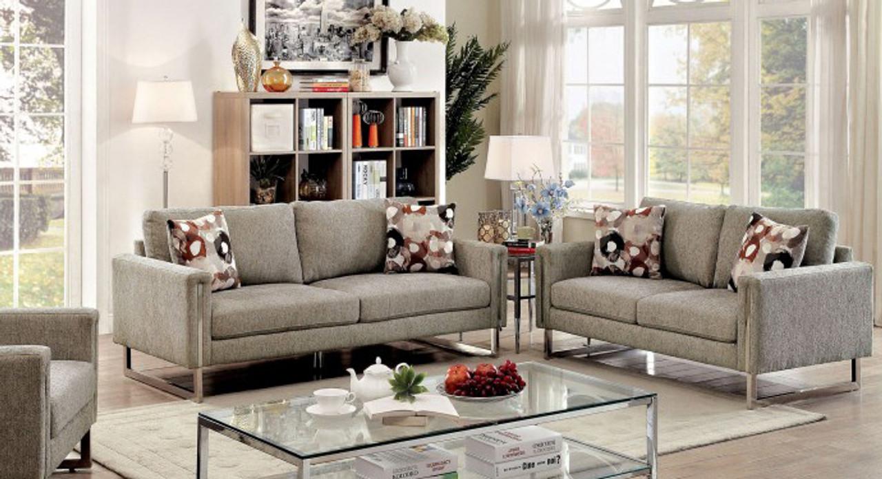 Ashford Gray Chenille Living Room Set