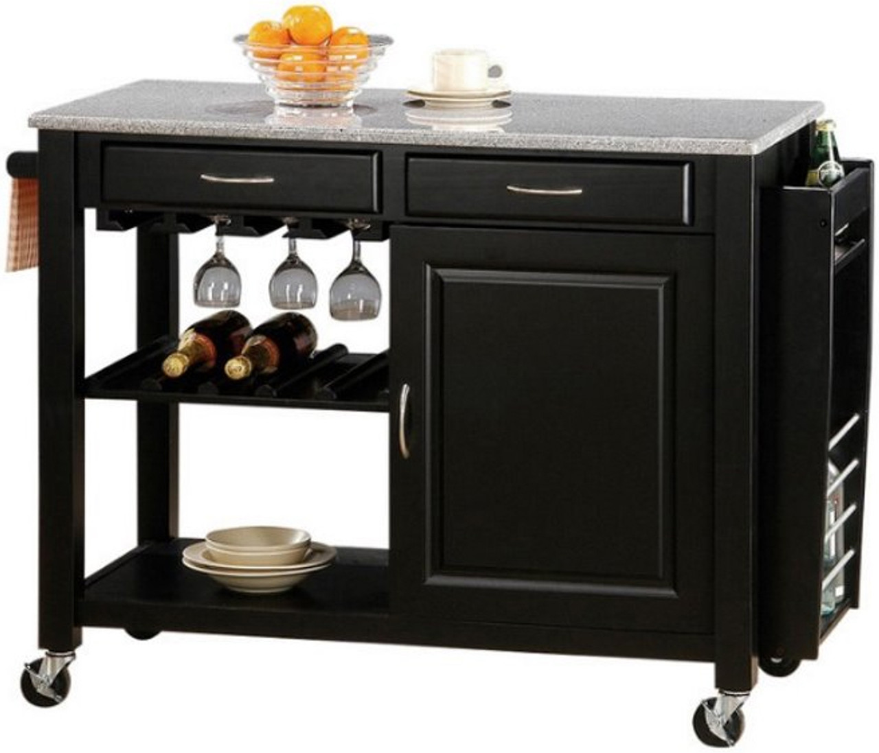 Krenton Granite Top Kitchen Island Cart
