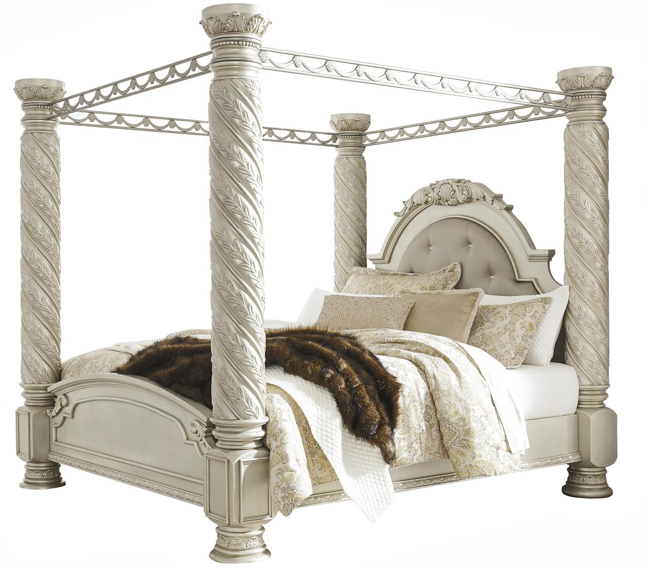 e6cbf9f16f21 Alexandria Pearl Silver King Poster Canopy Bed - CB Furniture