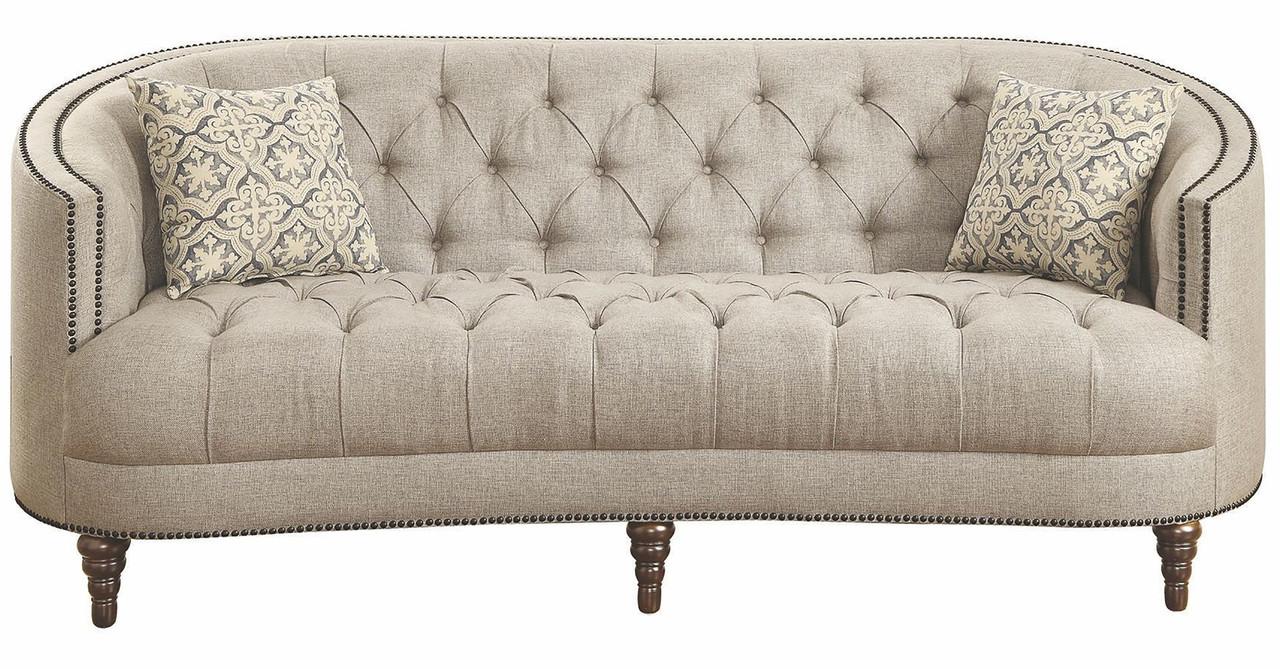 Mia Grey Tufted Linen Sofa & Loveseat