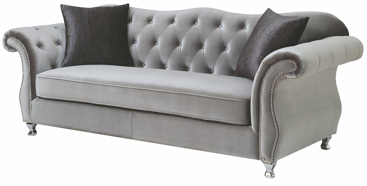 Lanah Silver Velvet Tufted Sofa - CB Furniture