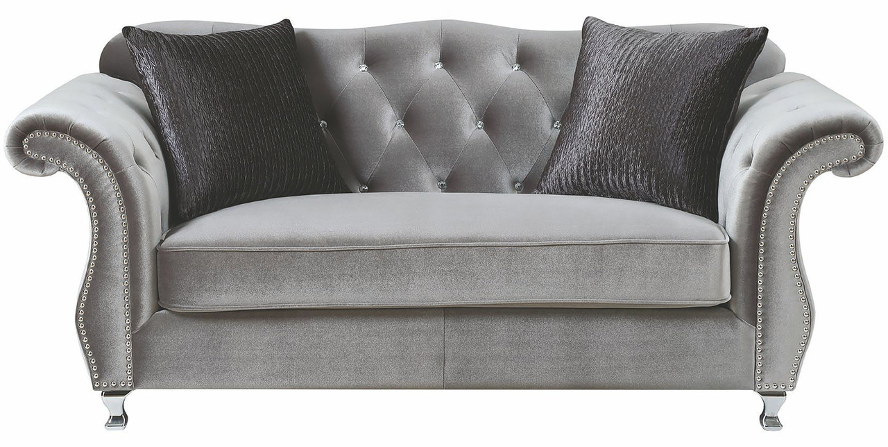 Lanah Silver Velvet Tufted Sofa & Loveseat