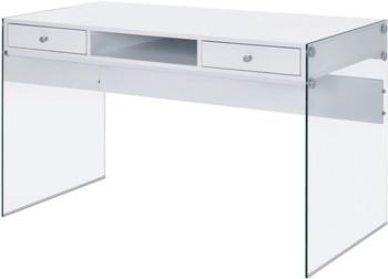 """AITZA White 47"""" Wide Glossy White Writing Desk"""