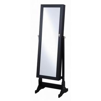 Black Floor Mirror with Jewelry Storage