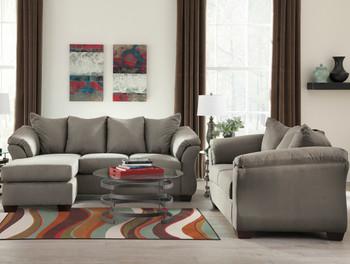 EDELINE Stone Gray Sofa Chaise & Loveseat