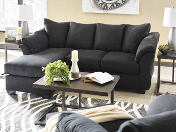 EDELINE Black Sofa Chaise & Loveseat