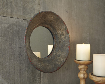 Vinatage Gray Round Mirror