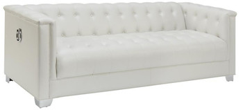 Luciana Pearl White Tuffted Sofa & Loveseat