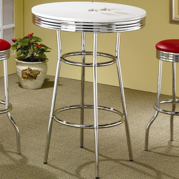 Bel Air White & Red 3-Piece Bar Height Set