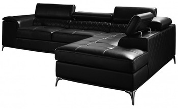 """GRANBY Black 118"""" Wide Sectional"""