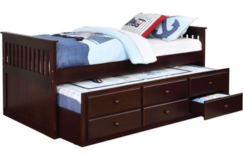Embry Cappuccino Trundle Bed with Drawers