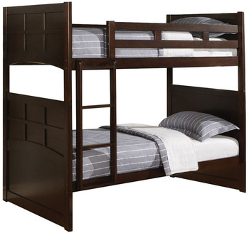 Dayron Cappucino Twin over Twin Bunkbed With Storage