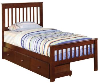 Aero Stripes Chestnut Twin Bed With Under bed Storage