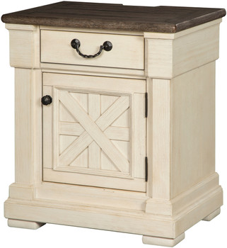 Fleming White USB Nightstand