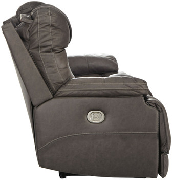 Wesley Top Grain Leather Gray Reclining Livingroom with Adjustable Lumbar and Headrests