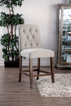 Amir Beige Counter Height Scrolled Chair