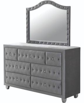 "QUINTON Silver 61"" Wide Dresser & Mirror with Jewelry Storage"