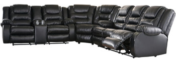 """HOLTEN Black 134"""" Wide Reclining Sectional"""