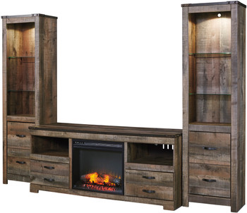 Trinell 3 Piece Wall Unit With Fireplace