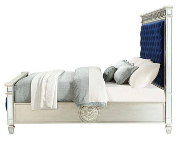 Claraton Blue Fabric Bed With Mirrors