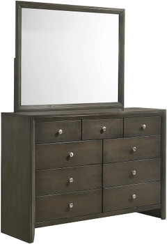 "LIVINGTON Gray 55"" Wide Dresser & Mirror"