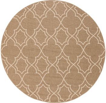 "Frances Tan 5'3"" Round Rug (Indoor/Outdoor)"