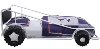 Speeder White Twin Race Car Bed