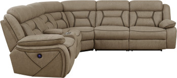 Sedona Light Brown Power Sectional with USB Ports