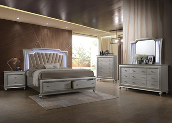 Marvilla Silver LED Storage Bed